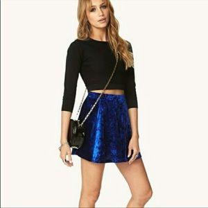 Forever 21 Royal Blue Crushed Velvet Stretch Skirt